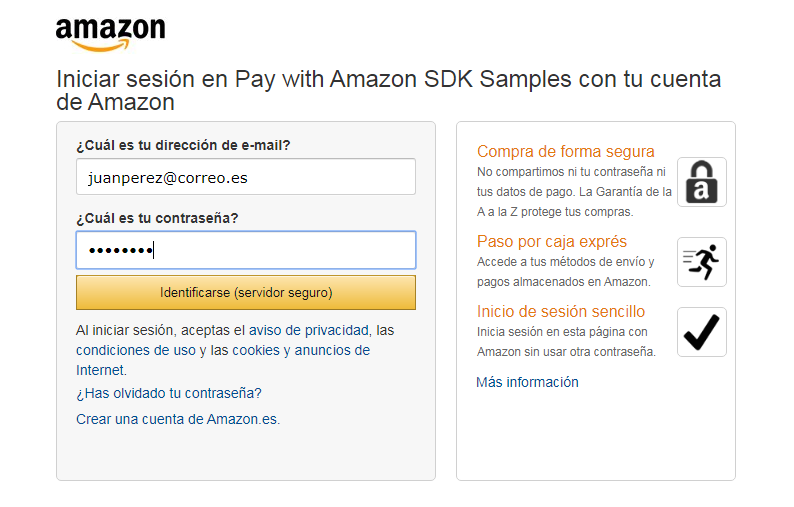 Ejemplo de login con Amazon Pay